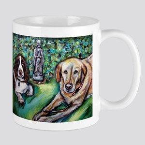 Yellow Lab w English Springer Mug