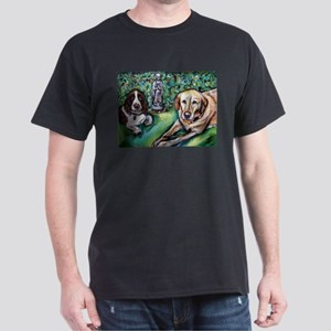 Yellow Lab w English Springer Dark T-Shirt