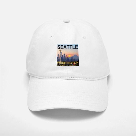 Seattle WA Skyline Graphics Sunset Baseball Baseball Cap