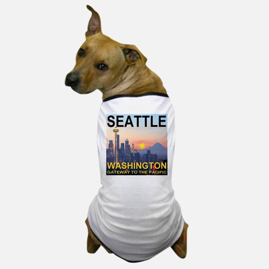 Seattle WA Skyline Graphics Sunset Dog T-Shirt