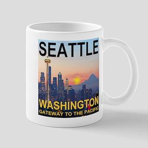 Seattle WA Skyline Graphics Sunset Mug