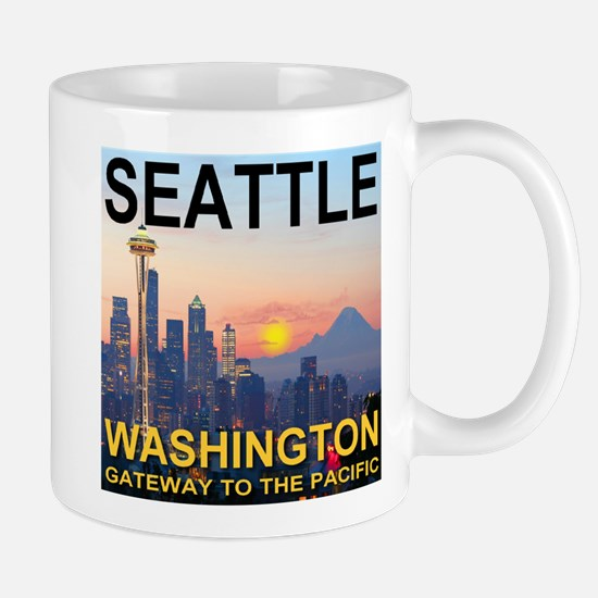 Seattle WA Skyline Graphics Sunset Mug