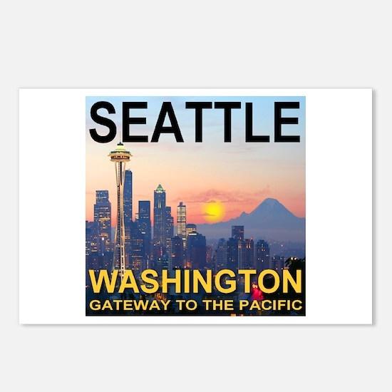 Seattle WA Skyline Graphics Sunset Postcards (Pack
