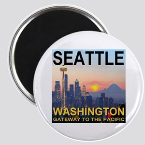 Seattle WA Skyline Graphics Sunset Magnet