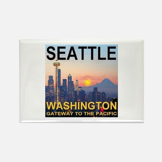 Seattle WA Skyline Graphics Sunset Rectangle Magne