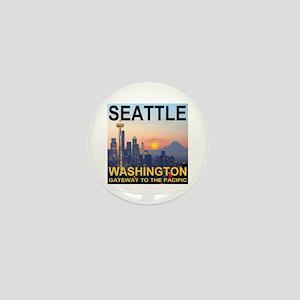 Seattle WA Skyline Graphics Sunset Mini Button