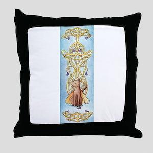 Art Nouveau Fairy Cat Throw Pillow