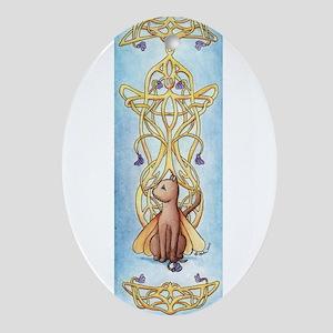Art Nouveau Fairy Cat Ornament (Oval)