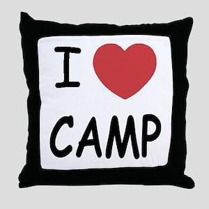 I heart camp Throw Pillow