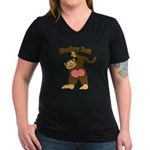Monkey Butt 2 Women's V-Neck Dark T-Shirt