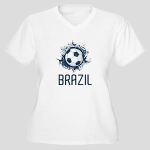Hip Brazil Football Women's Plus Size V-Neck T-Shi