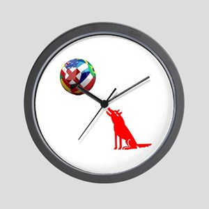 Howling At The Ball! Wall Clock