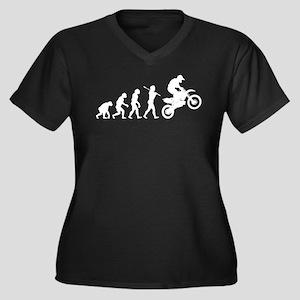 Motocross Women's Plus Size V-Neck Dark T-Shirt
