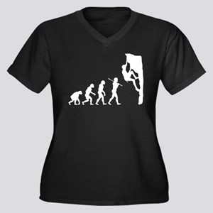 Rock Climbing Women's Plus Size V-Neck Dark T-Shir