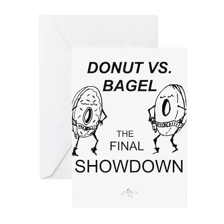 Donut vs. Bagel - Final Showd Greeting Cards (Pk o