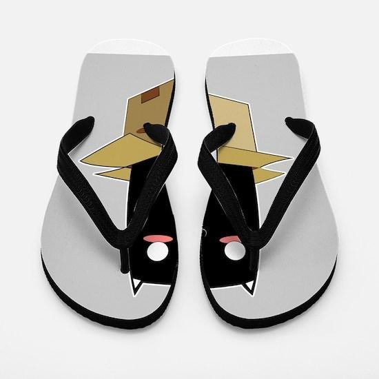 Black Cat in a Box Flip Flops