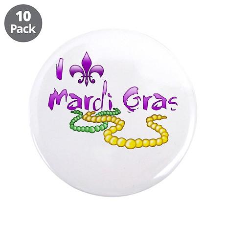 """I Fleur-de-Lis Mardi Gras 3.5"""" Button (10 pack)"""
