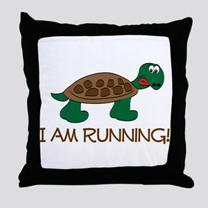 Running Tortoise Throw Pillow