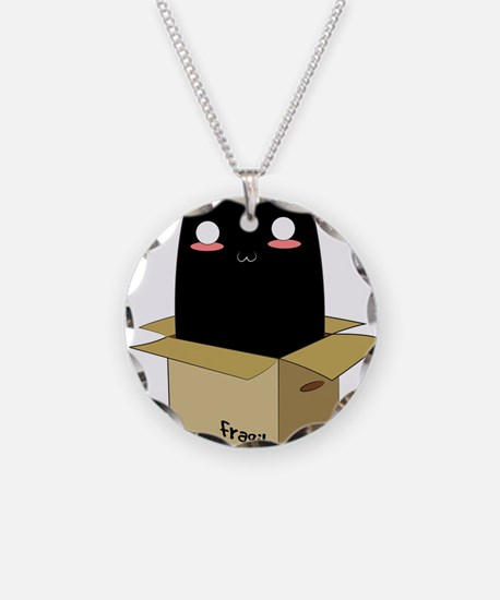 Black Cat in a Box Necklace