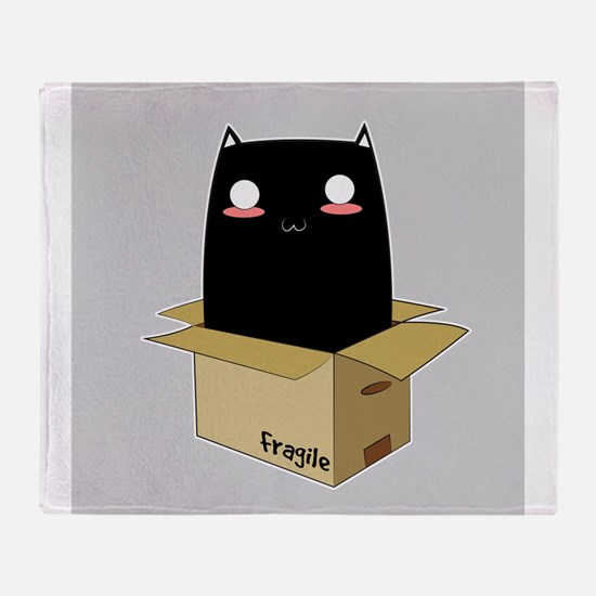 Black Cat in a Box Throw Blanket