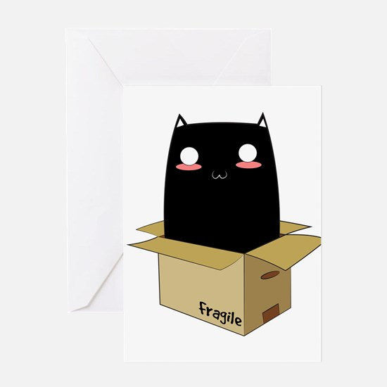 Black Cat in a Box Greeting Cards