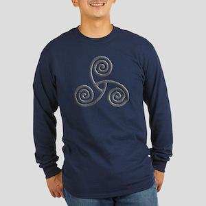 Celtic Triple Spiral Long Sleeve Dark T-Shirt