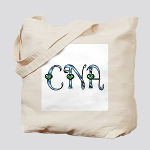 CNA Blue Silver Emerald Heart Tote Bag