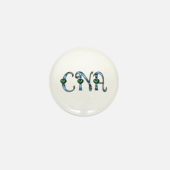 CNA Blue Silver Emerald Heart Mini Button