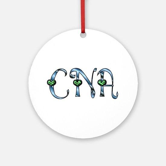 CNA Blue Silver Emerald Heart Ornament (Round)