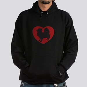 Long Haired Chihuahua Heart Hoodie (dark)