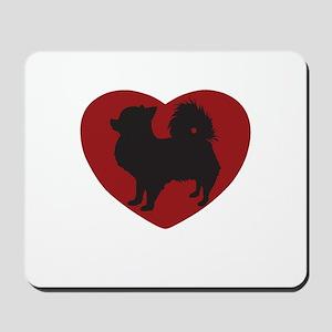 Long Haired Chihuahua Heart Mousepad