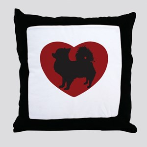 Long Haired Chihuahua Heart Throw Pillow