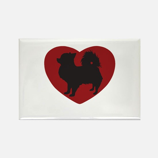 Long Haired Chihuahua Heart Rectangle Magnet