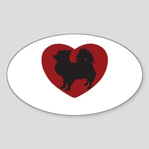 Long Haired Chihuahua Heart Sticker (Oval)