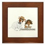 Jack Russell Terrier and The Turkey on Framed Tile