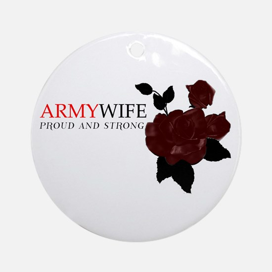 """Army Wife Rose"" Ornament (Round)"