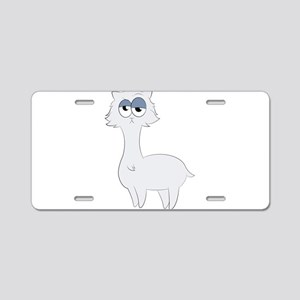 Grumpy Persian Cat Llama Aluminum License Plate