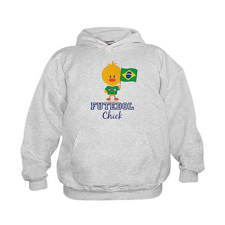 Brazil Soccer Futebol Chick Kids Hoodie