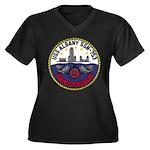 USS ALBANY Women's Plus Size V-Neck Dark T-Shirt