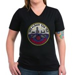 USS ALBANY Women's V-Neck Dark T-Shirt