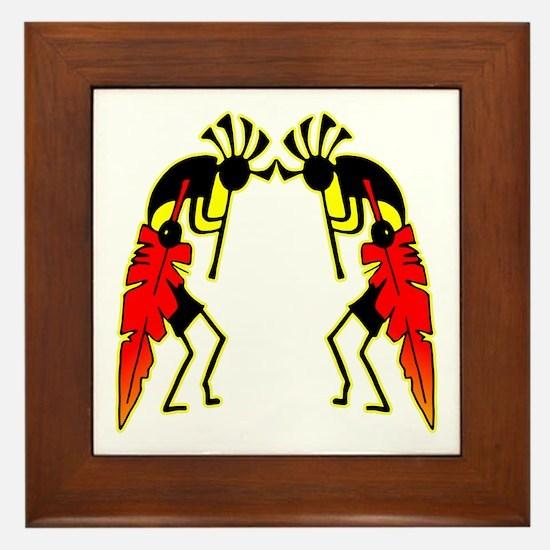 Twin Kokopeli Framed Tile