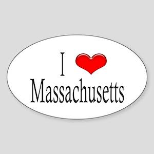 I Heart Massachusetts Oval Sticker