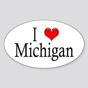 I Heart Michigan Oval Sticker