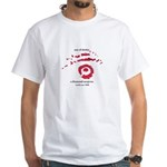 White T-Shirt w/ red and black artwork