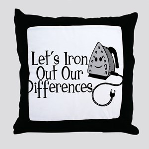 Iron Out Differences Throw Pillow