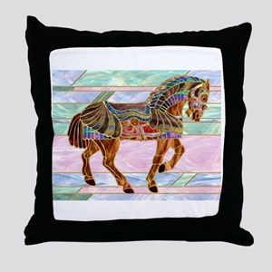 Armoured Carousel Horse Throw Pillow