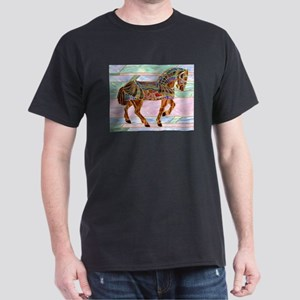 Armoured Carousel Horse Black T-Shirt