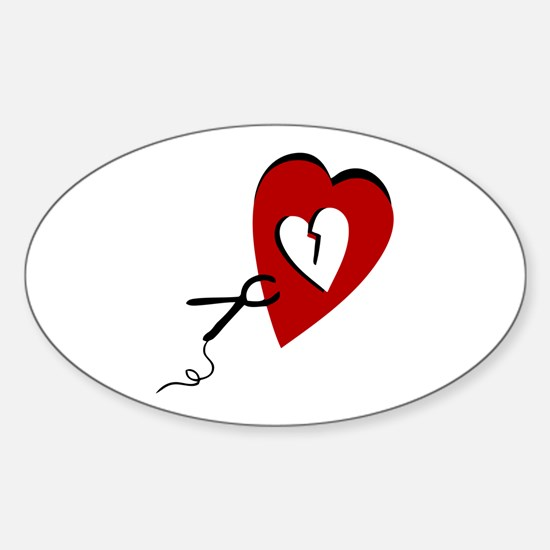 """Broken heart"" Oval Decal"