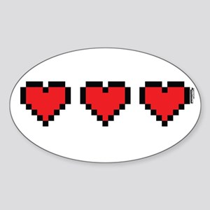 3 Hearts Sticker (Oval)