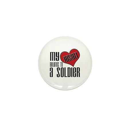 Heart Belongs Soldier Mini Button